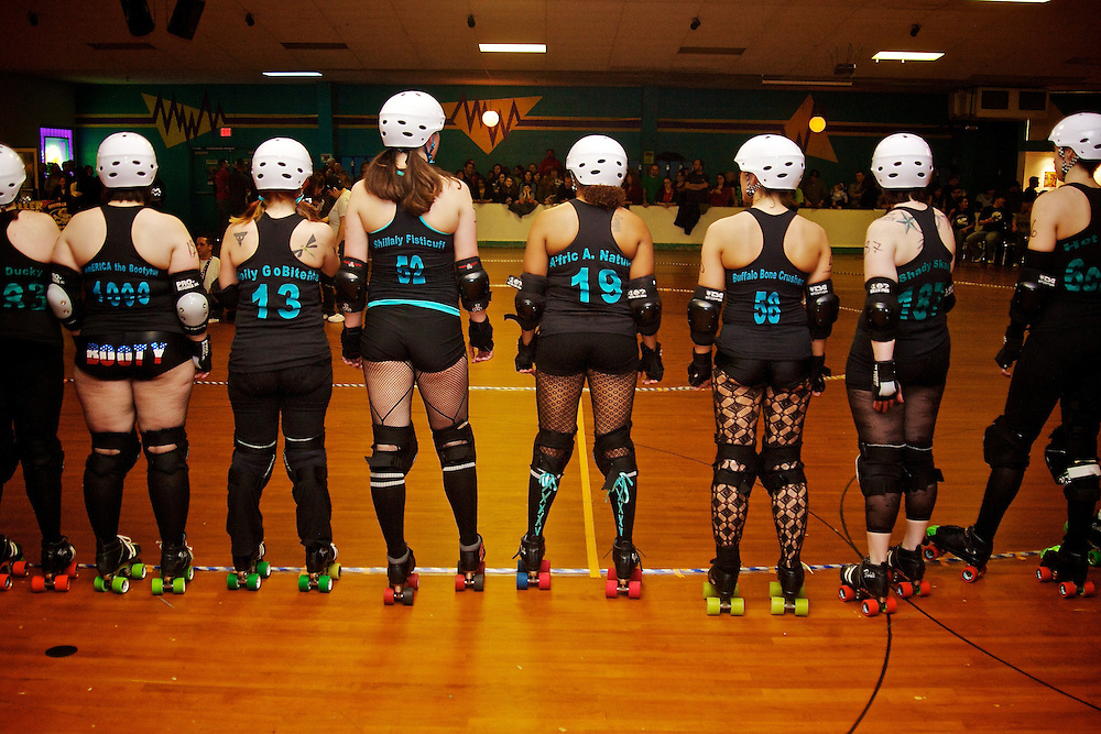 Feb. 26, 2007; Virginia Beach, VA, USA; The Dominion Derby Girls line up for the national anthem before their bout against Harrisburg Area Roller Derby. Mandatory Credit: Peter J. Casey