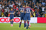 Edinson Roberto Paulo Cavani Gomez (psg) (El Matador) (El Botija) (Florestan) scored a goal and celebrated it with Thomas Meunier (PSG), Julian Draxler (PSG) during the French championship L1 football match between Paris Saint-Germain (PSG) and Saint-Etienne (ASSE), on August 25, 2017 at Parc des Princes, Paris, France - Photo Stéphane Allaman / ProSportsImages / DPPI