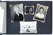 various time female portraits photo album page