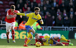 Leeds United's Tyler Roberts makes a break during the Sky Bet Championship match at The Riverside Stadium, Middlesbrough.