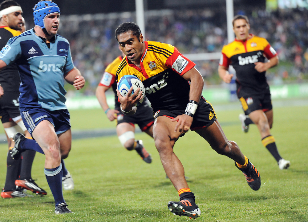 Chiefs Asaeli Tikoirotuma runs in to score his third try against the Blues in the Super 15 Rugby match, North Harbour Stadium, Albany, New Zealand, Saturday, June 02, 2012. Credit:SNPA / Ross Setford