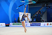 Volkova Ekaterina during qualifying at clubs in Pesaro World Cup 02 April 2016. Ekaterina was born in Vantaa, Finland, 1997. She is a Finnish individual rhythmic gymnast.