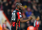 AFC Bournemouth forward Benik Afobe celebrates his first goal for Bournemouth during the Barclays Premier League match between Bournemouth and Norwich City at the Goldsands Stadium, Bournemouth, England on 16 January 2016. Photo by Graham Hunt.