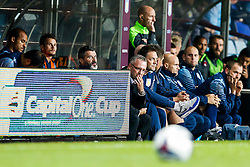 Assistant manager Roy Kenae and Aston Villa Manager Paul Lambert sit on the bench looking dejected with their side losing 0-1 - Photo mandatory by-line: Rogan Thomson/JMP - 07966 386802 - 27/08/2014 - SPORT - FOOTBALL - Villa Park, Birmingham - Aston Villa v Leyton Orient - Capital One Cup Round 2.