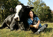 Tracey Stewart spends time at the Farm Sanctuary in Watkins Glen, NY, Thursday, Sept. 24, 2015. Stewart wrote a book, &quot;Do Unto Animals&quot;. *<br /> (Photograph by Heather Ainsworth)