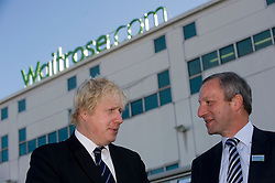 © Licensed to London News Pictures. 21/10/2011. London, UK. Mayor of London Boris Johnson with Waitrose Retail Director Tony Solomons on a tour of Waitrose's state of the art online distribution centre in Acton, West London today (21/10/2011). The centre delivers online order across the whole of London. Photo credit: Ben Cawthra/LNP