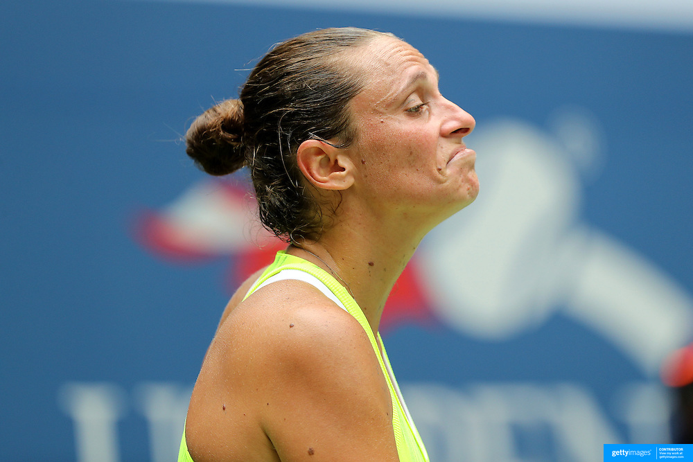 2016 U.S. Open - Day 9  Roberta Vinci of Italy reacts during her loss against Angelique Kerber of Germany in the Women's Quarterfinal match on Arthur Ashe Stadium on day nine of the 2016 US Open Tennis Tournament at the USTA Billie Jean King National Tennis Center on September 6, 2016 in Flushing, Queens, New York City.  (Photo by Tim Clayton/Corbis via Getty Images)