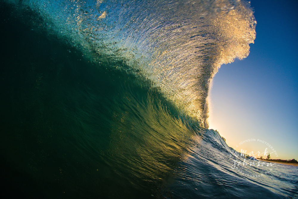 Beautiful backlit breaking wave, Hawaii