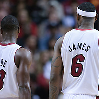 19 November 2010: Miami Heat's shooting guard #3 Dwyane Wade is seen next to Miami Heat's small forward #6 LeBron James during the Miami Heat 95-87 victory over the Charlotte Bobcats at the AmericanAirlines Arena, Miami, Florida, USA.