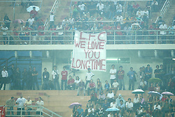 BANGKOK, THAILAND - Thailand. Thursday, July 24, 2003: Thai Liverpool fans display a banner reading 'LFC We Love You Long Time' during a preseason friendly match at the Rajamangala National Stadium. (Pic by David Rawcliffe/Propaganda)