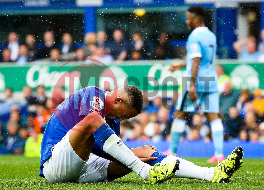 Everton's Brendan Galloway picks up a knee injury - Mandatory byline: Matt McNulty/JMP - 07966386802 - 23/08/2015 - FOOTBALL - Goodison Park -Everton,England - Everton v Manchester City - Barclays Premier League