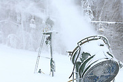 Snow making machines spray snow on the slopes at the Nubs Nob ski area in Harbor Springs.   Both Nubs Nob and neighboring Boyne Highlands will be open for skiing this weekend.