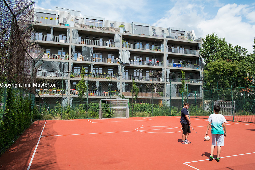Modern luxury apartment building in Neukolln district in Berlin Germany