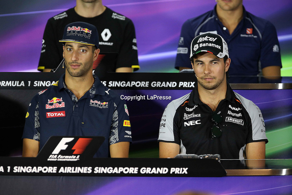 &copy; Photo4 / LaPresse<br /> 15/09/2016 Singapore<br /> Sport <br /> Grand Prix Formula One Singapore 2016<br /> In the pic: Press conference, Daniel Ricciardo (AUS) Red Bull Racing RB12 and Sergio Perez (MEX) Sahara Force India F1 VJM09