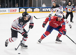 Mitch Marner of Canada vs Kristian Forsberg of Norway during the 2017 IIHF Men's World Championship group B Ice hockey match between National Teams of Canada and Norway, on May 15, 2017 in AccorHotels Arena in Paris, France. Photo by Vid Ponikvar / Sportida