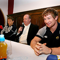 Anthony Foley ,Shaun Payne,Declan Kidney and Gerry Flannery at the Munster Rugby Breakfast in the Templegate Hotel on Friday in aid of Cahercalla Hospice.<br /> Photograph by Eamon Ward