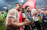HONG KONG - APRIL 10:  Fiji players celebrate with the trophy after winning the 2016 Hong Kong Sevens  final against New Zealand at Hong Kong Stadium on April 10, 2016 in Hong Kong.  (Photo by Juan Manuel Serrano Arce/Getty Images)