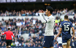 Son Heung-Min of Tottenham Hotspur cant belive it as his shot hits the bar - Mandatory by-line: Arron Gent/JMP - 19/10/2019 - FOOTBALL - Tottenham Hotspur Stadium - London, England - Tottenham Hotspur v Watford - Premier League