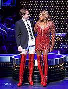 Kinky Boots by Harvey Fierstein <br /> A new musical based on a true story <br /> Fierstein <br /> UK premi&egrave;re <br /> at The Adelphi Theatre, London, Great Britain  <br /> press photocall <br /> 10th September 2015<br /> <br /> Matt Henry as Lola <br /> Killian Donnelly as Charlie <br /> <br /> Company <br /> <br /> <br /> Choreography by Jerry Mitchell <br /> <br /> <br /> <br /> Photograph by Elliott Franks <br /> Image licensed to Elliott Franks Photography Services