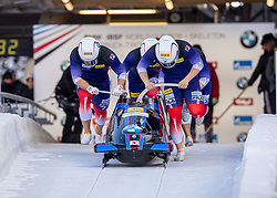 19.01.2020, Olympia Eiskanal, Innsbruck, AUT, BMW IBSF Weltcup Bob und Skeleton, Igls, Bob Viersitzer, Herren 2. Lauf, im Bild Pilot Won Yunjong mit Lee Gyeongmin, Kim Jinsu, Chae Byungdo (KOR) // Pilot Won Yunjong with Lee Gyeongmin Kim Jinsu Chae Byungdo of Korea during their 2nd run of four-man Bobsleigh competition of BMW IBSF World Cup at the Olympia Eiskanal in Innsbruck, Austria on 2020/01/19. EXPA Pictures © 2020, PhotoCredit: EXPA/ Peter Rinderer