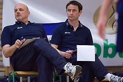 Glenn Hoag and Tilen Kozamernik of ACH at final match of Slovenian National Volleyball Championships between ACH Volley Bled and Salonit Anhovo, on April 24, 2010, in Radovljica, Slovenia. ACH Volley defeated Salonit 3rd time in 3 Rounds and became Slovenian National Champion.  (Photo by Vid Ponikvar / Sportida)