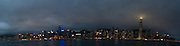 Asia, Southeast, People's Republic of China, Hong Kong, A panorama of Hong Kong island from Kowloon peninsula (Tsim Sha Tsui).