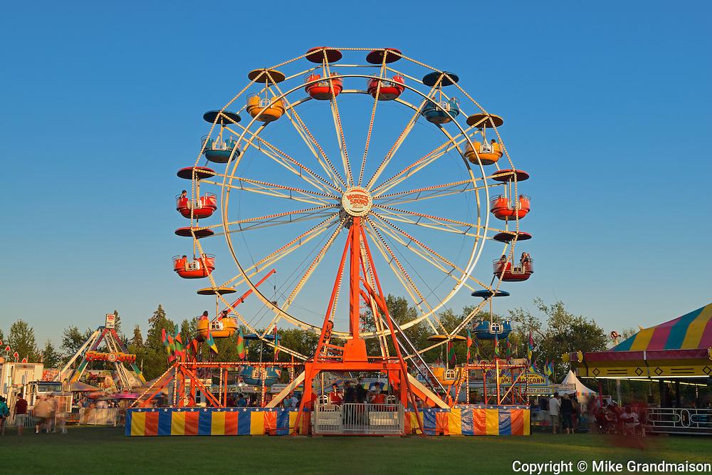 Ferris wheel at the fair during the Icelandic Festival<br /> Gimli<br /> Manitoba<br /> Canada