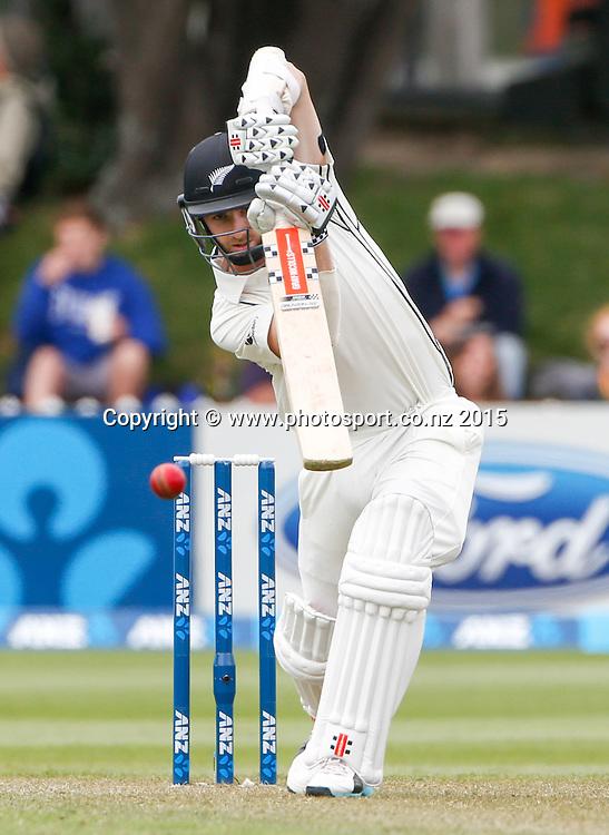 Kane Williamson plays a shot.  First day, second test, ANZ Cricket Test series, New Zealand Black Caps v Sri Lanka, 03 January 2015, Basin Reserve, Wellington, New Zealand. Photo: John Cowpland / www.photosport.co.nz