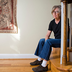 Alexandria, VA - September 29, 2009 - Liberal author Barbara Ehrenreich poses for portraits in her Alexandria home.  Ehrenreich has a new book coming out Oct. 13, 2009, entitled Bright-sided (Metropolitan Books) about compulsory optimism in America. Photo by Susana Raab
