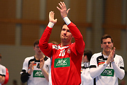 09.01.2015, Rothenbach Halle, Kassel, GER, Handball Testspiel, Deutschland vs Island, im Bild Carsten Lichtlein (Deutschland) applaudiert nach dem Sieg gegen Island in Richtung Zuschauer // during the International Handball Friendly Match between Germany vs Iceland at the Rothenbach Halle in Kassel, Germany on 2015/01/09. EXPA Pictures © 2016, PhotoCredit: EXPA/ Eibner-Pressefoto/ Weiss<br /> <br /> *****ATTENTION - OUT of GER*****