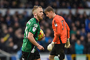 An own goal by Bristol Rovers Defender, Tom Lockyer (4) is celebrated by Scunthorpe United Forward, Paddy Madden (9) 1-1 during the EFL Sky Bet League 1 match between Bristol Rovers and Scunthorpe United at the Memorial Stadium, Bristol, England on 25 February 2017. Photo by Adam Rivers.