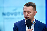 Warsaw, Poland - 2018 June 12: Leszek Ojrzynski speaks while TV ONET studio in Novotel Football Night at Novotel Hotel on June 12, 2018 in Warsaw, Poland.<br /> <br /> Adam Nurkiewicz declares that he has no rights to the image of people at the photographs of his authorship.<br /> <br /> Picture also available in RAW (NEF) or TIFF format on special request.<br /> <br /> Any editorial, commercial or promotional use requires written permission from the author of image.<br /> <br /> Image can be used in the press when the method of use and the signature does not hurt people on the picture.<br /> <br /> Mandatory credit:<br /> Photo by © Adam Nurkiewicz / Mediasport