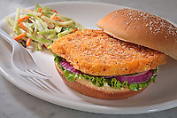 Chicken patty with lettuce,tomato,mayo,on a seeded bun,with cold slaw,in a white plate on white and grey marble top.