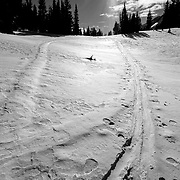 Crossing skin tracks in the Teton backcountry.