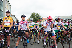 The jersey wearers line up before the start of Stage 1 of the Ladies Tour of Norway - a 101.5 km road race, between Halden and Mysen on August 18, 2017, in Ostfold, Norway. (Photo by Balint Hamvas/Velofocus.com)