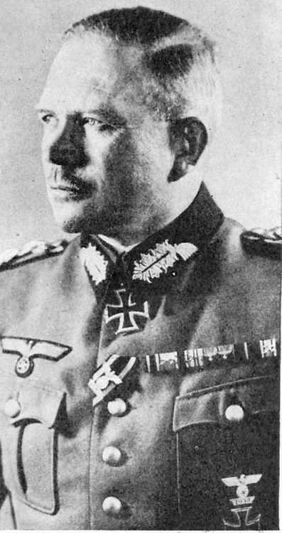 General Heinz Guderian (1888-1954) German army Panzer officer and military theorist. In Invasion of France, led attack crossing Meuse and  breaking through French lines at Sedan. Put into practice his rapid blitz-krieg theory.