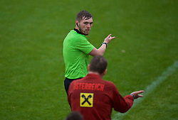 NEWPORT, WALES - Monday, October 14, 2019: Assistant referee Connor Thomas during an Under-19's International Friendly match between Wales and Austria at Dragon Park. (Pic by David Rawcliffe/Propaganda)
