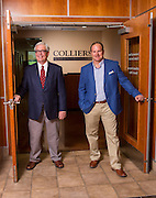 Ramsay Ball and Steve Lane stand at the entrance of Colliers International on Tuesday, May 26, 2015, in Bentonville, Ark.<br /> <br /> Photo by Beth Hall