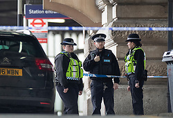 © Licensed to London News Pictures. 05/03/2019. London, UK. Police guard a cordon at Waterloo Station as officers deal with a suspicious package. The Metropolitan Police counter terrorism command has said that small improvised explosive devices have been found at the station, at Heathrow and London City airport. Photo credit: Peter Macdiarmid/LNP