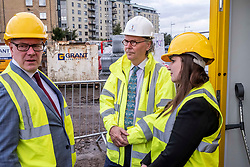 Pictured: Kevin Stewart, Keith Anderson, Chief Executive Port of Leith housing authority and Councillor Kate Campbell, convenor of City of Edinburgh Housing and Economics Committee.<br /> <br /> Housing Minister Kevin Stewart visited Waterfront Plaza in Edinburgh today and warned a no-deal Brexit could damage the future growth of the industry in Scotland as the latest new housing supply statistics were published.<br /> <br /> The minister met Keith Anderson, Chief Executive Port of Leith housing authority and Councillor Kate Campbell, convenor of City of Edinburgh Housing and Economics Committee.<br /> <br /> Ger Harley   EEm 24 September 2019