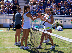 LIVERPOOL, ENGLAND - Sunday, June 24, 2018: Marion Bartolli (FRA) and Ellie Tsimbilakis (GBR) shake hands with Vera Zvonareva (RUS) and Corinna Dentoni (ITA) after their doubles match during day four of the Williams BMW Liverpool International Tennis Tournament 2018 at Aigburth Cricket Club. (Pic by Paul Greenwood/Propaganda)