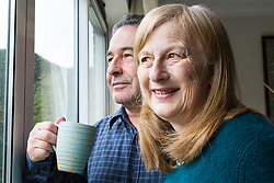 Alzheimer sufferer Yvonne Salomon and her husband Trevor in their family home in Pinner. Pinner, London, March 12 2018.