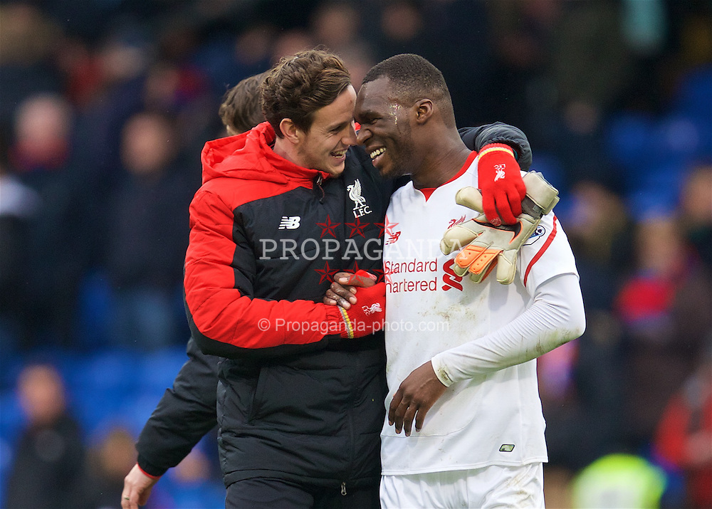LONDON, ENGLAND - Sunday, March 6, 2016: Liverpool's goal-scoring match-winner Christian Benteke celebrates the 2-1 victory over Crystal Palace with team-mate goalkeeper Danny Ward during the Premier League match at Selhurst Park. (Pic by David Rawcliffe/Propaganda)