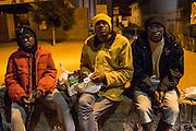 November 8, 2016 - Ventimiglia, Italy: Migrants eat the meals they got from Jean-Pierre and his wife Gisele, members of a network that helps migrants.<br /> <br /> 8 novembre 2016 - Vintimille, Italie: des migrants mangent les repas qu'ils ont reçus de Jean-Pierre et de sa femme Gisele, membres d'un réseau qui aide les migrants.