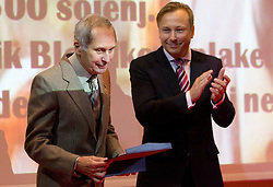 Anton Majcen and dr. Peter Kukovica during the Slovenia's Athlete of the year award ceremony by Slovenian Athletics Federation AZS, on November 12, 2008 in Hotel Mons, Ljubljana, Slovenia.(Photo By Vid Ponikvar / Sportida.com) , on November 12, 2010.