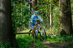 Petra in training in special Spanish cycling clothes, because they are going to cycle together with Spanish cyclists for the fifth time in a row, for the challenge WeBike2ChangeDiabetes in Soria & Navarra 2020 at the MTB track Lage Vuursche on April 19, 2020 in Lage Vuursche, Netherlands
