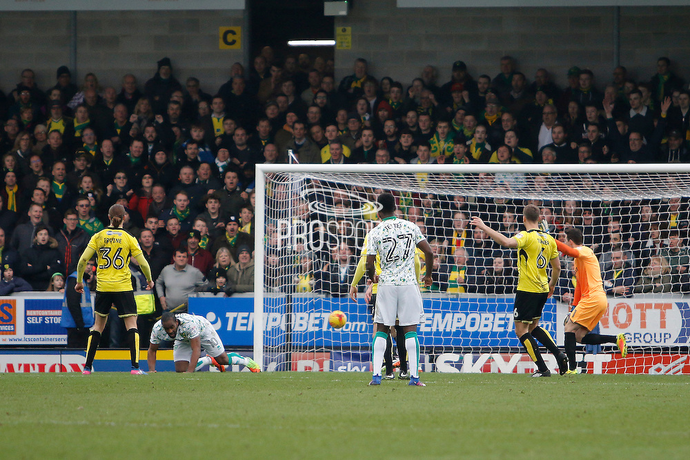 Norwich City forward Cameron Jerome scores a goal 1-1 during the EFL Sky Bet Championship match between Burton Albion and Norwich City at the Pirelli Stadium, Burton upon Trent, England on 18 February 2017. Photo by Richard Holmes.