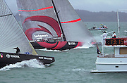 Alinghi cross the start line three seconds ahead of Team New Zealand, race four of the America's Cup 2003. 28/2/2003 (© Chris Cameron 2003)
