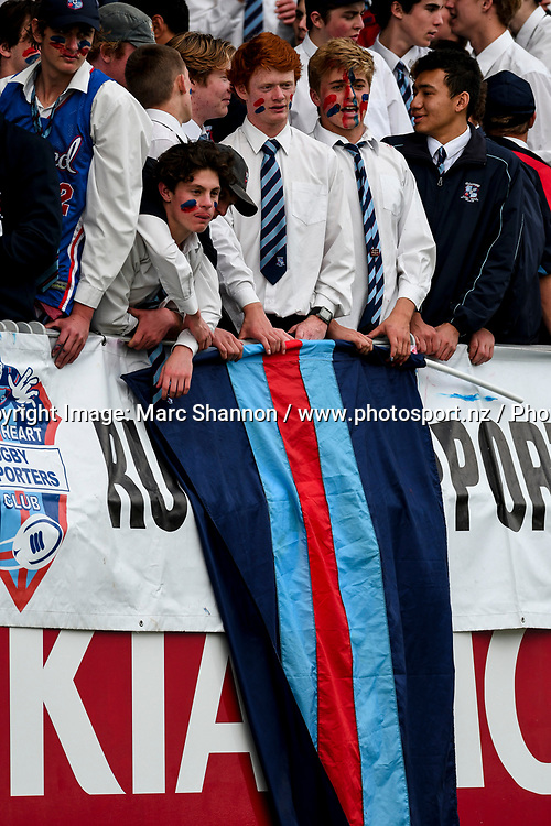 Sacred Heart fans.<br /> St Kentigern College v Sacred Heart College, Auckland Secondary Schools First XV rugby union, Eden Park, Auckland, New Zealand. 26 August 2017. &copy; Copyright Image: Marc Shannon / www.photosport.nz.