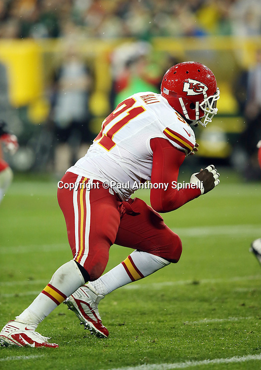Kansas City Chiefs outside linebacker Tamba Hali (91) rushes the quarterback during the 2015 NFL week 3 regular season football game against the Green Bay Packers on Monday, Sept. 28, 2015 in Green Bay, Wis. The Packers won the game 38-28. (©Paul Anthony Spinelli)